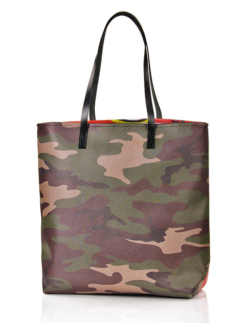 Duże torba z autorskim nadrukiem City #9 | Tote bag City #9 letgo army green