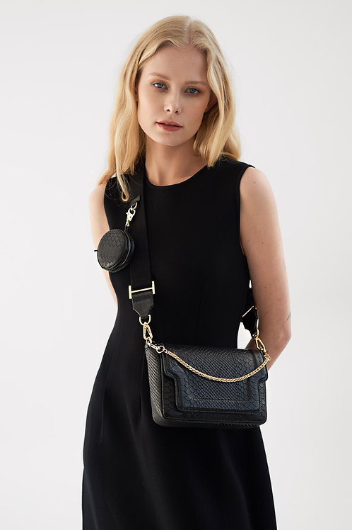Glam Mini Modern Black Python Bag With Chain