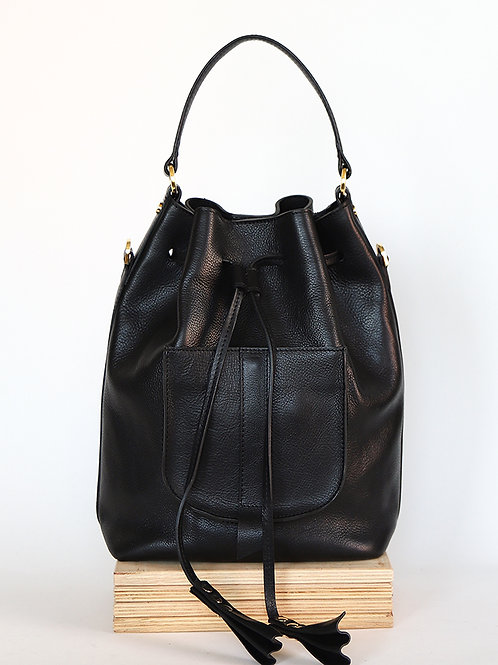 Leather Bucket Bag, Backpack with pock 3in1 Men in Black