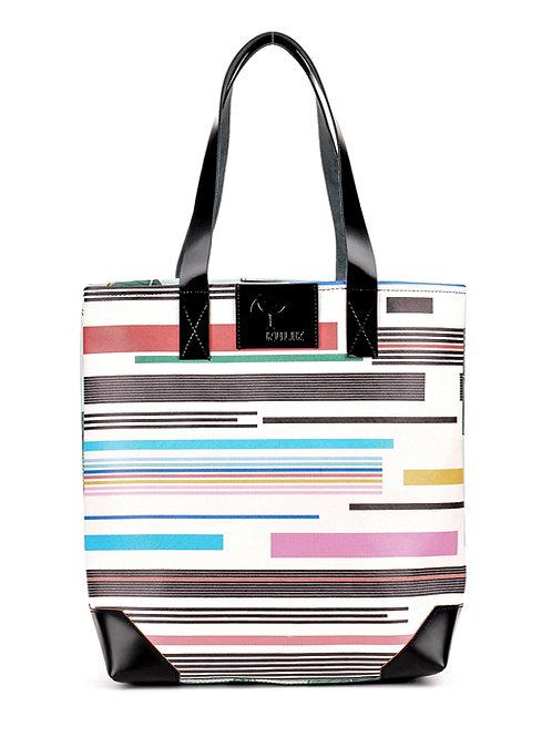Duża torba z autorskimi nadrukami i skórą Stripe Palms | Tote bag Stripe Palms