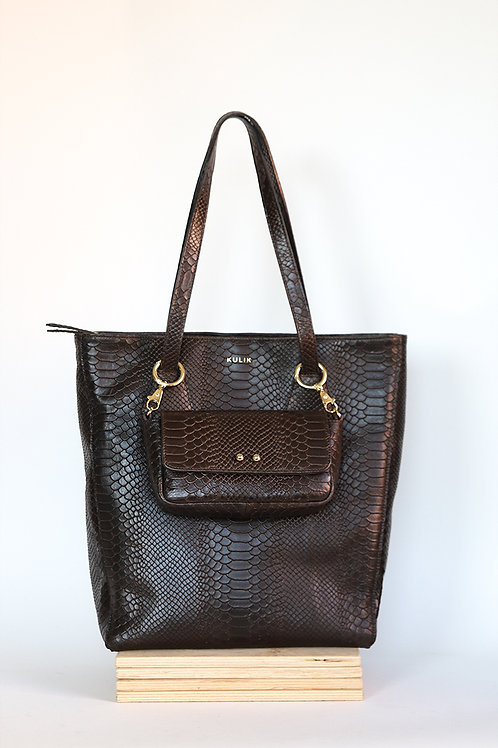 Leather shopper with Sugar Love chocolate python