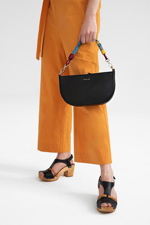 Half Moon Black Bag  With Twisted Belt