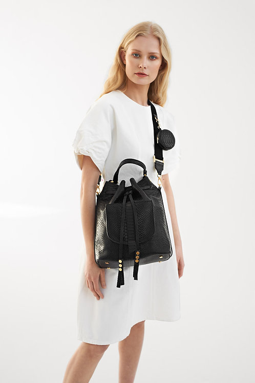 Leather Bucket Bag 3in1 Black Python With Minibag