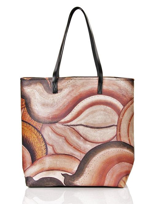 Duża torba z autorskim nadrukiem i skórą City #3 | Tote bag City #3