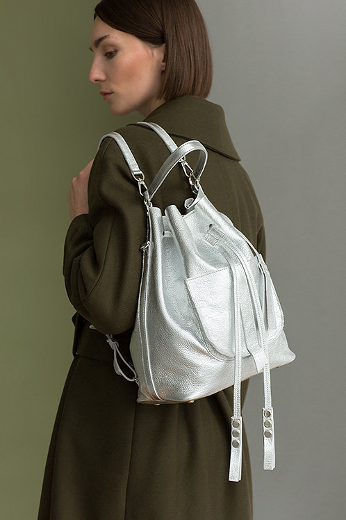 Damaski worek, torebka, plecak ze skóry Silver Pick
