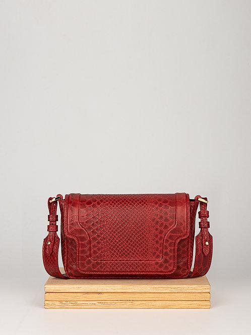 Damska skórzana torebka Mini Modern Red Pyton