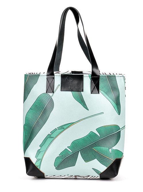Duża torba z autorskim nadrukiem i skórą Palm Story | Tote bag Palm Story