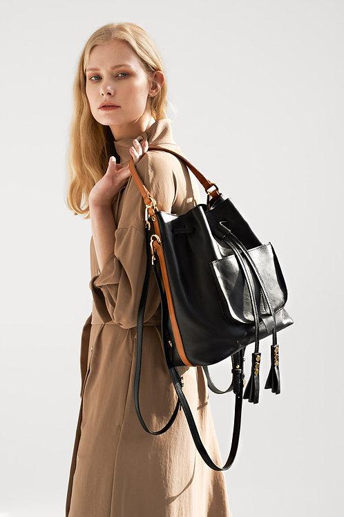 Bucket Bag 3in1, Backpack With Pocket  Black/Camel