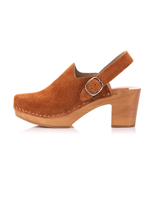 Suede clogs with a decorative strap