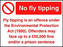 fly tipping warning, be aware