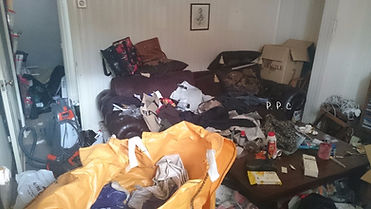 picture of a cluttered room cleard by pristine property clearance, in Brechin