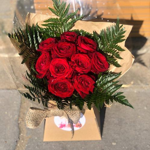 10 Rose Aqua Packed Bouquet