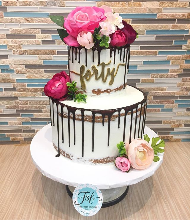 Semi-naked Drip Birthday Cake