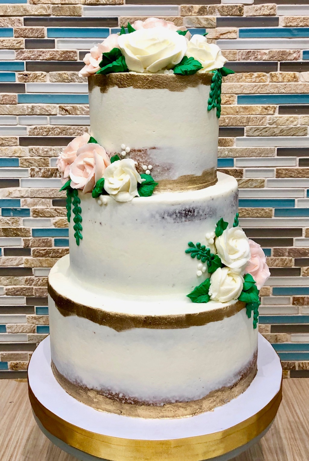 Semi-Naked Gold Trim Cake