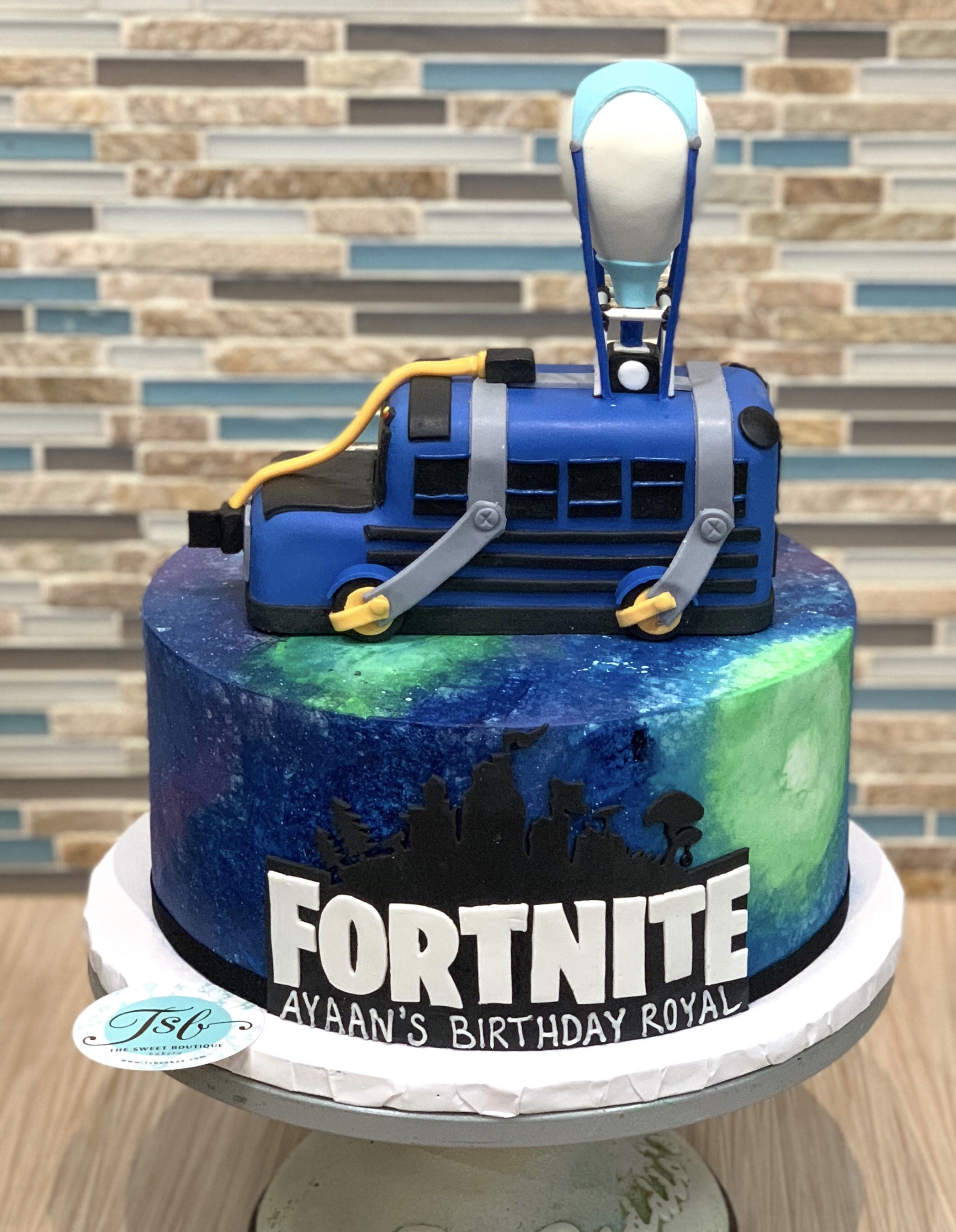 Fortnite Battle Bus Birthday Cake