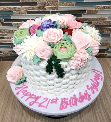 Floral Basket Weave Birthday Cake