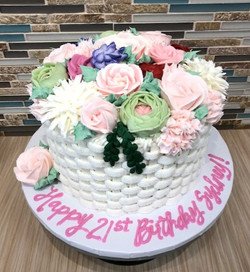 Floral Basket Weave Birthday Cake