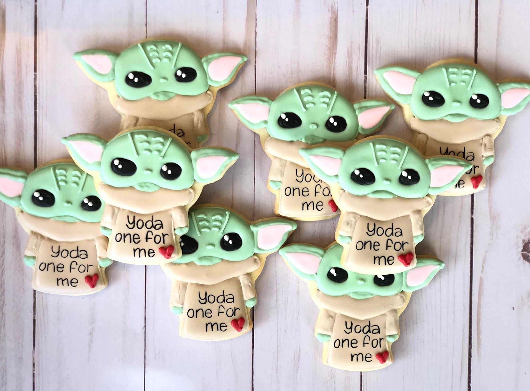 Baby Yoda Custom Cookies