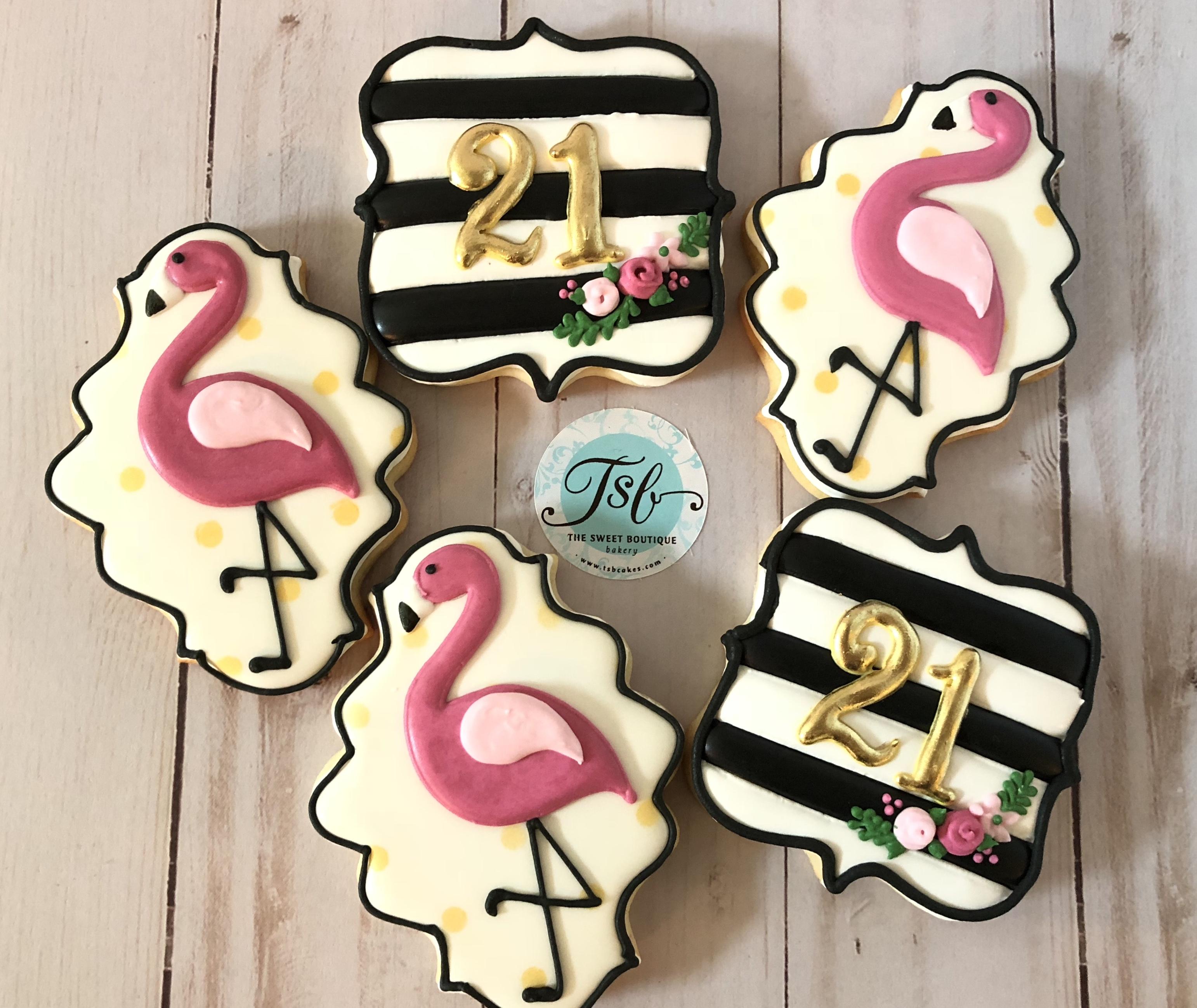 Flamingo 21st birthday cookies