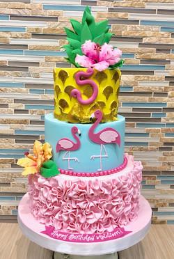 Luau/Flamingo Birthday Cake