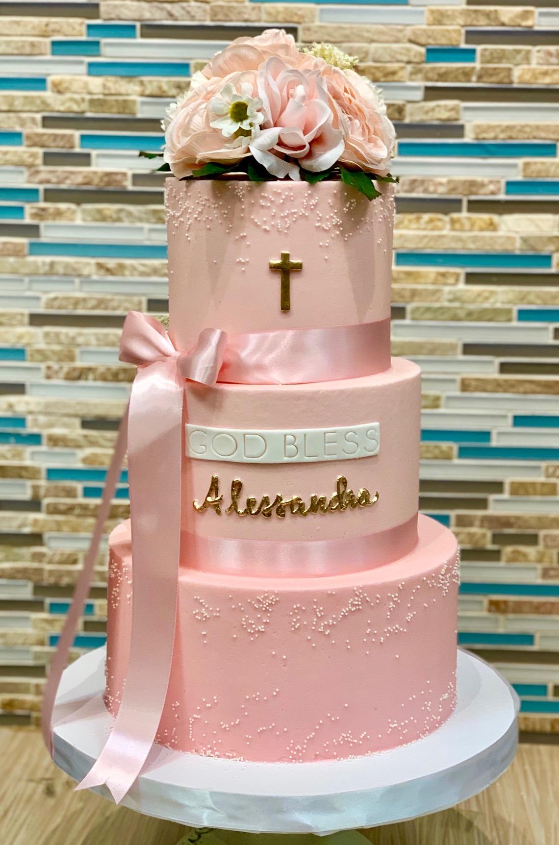3 Tier Baptism Cake