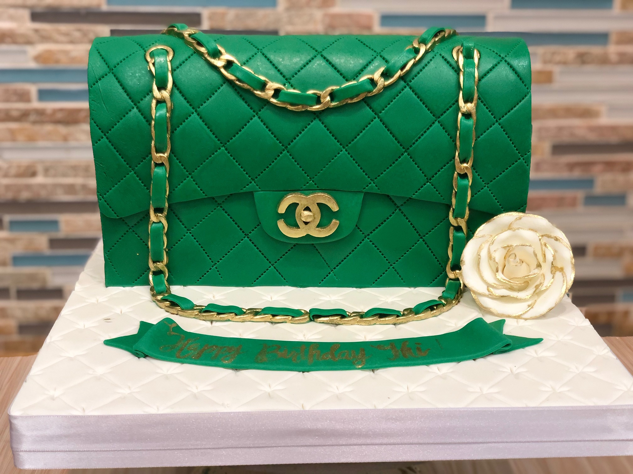 Emerald Chanel Purse Cake
