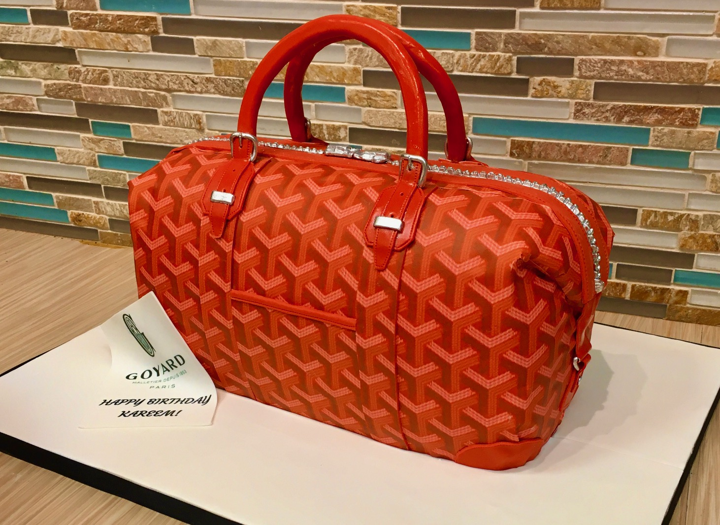 Goyard Duffel Bag Sculpted Cake