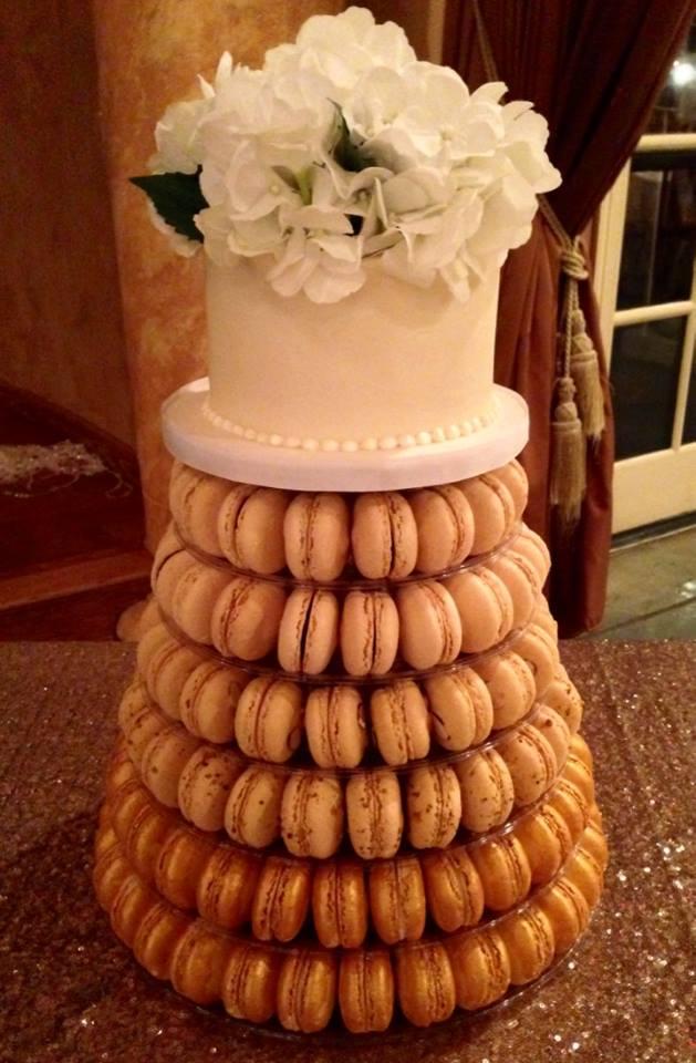 Macaron Tower with Custom Cake
