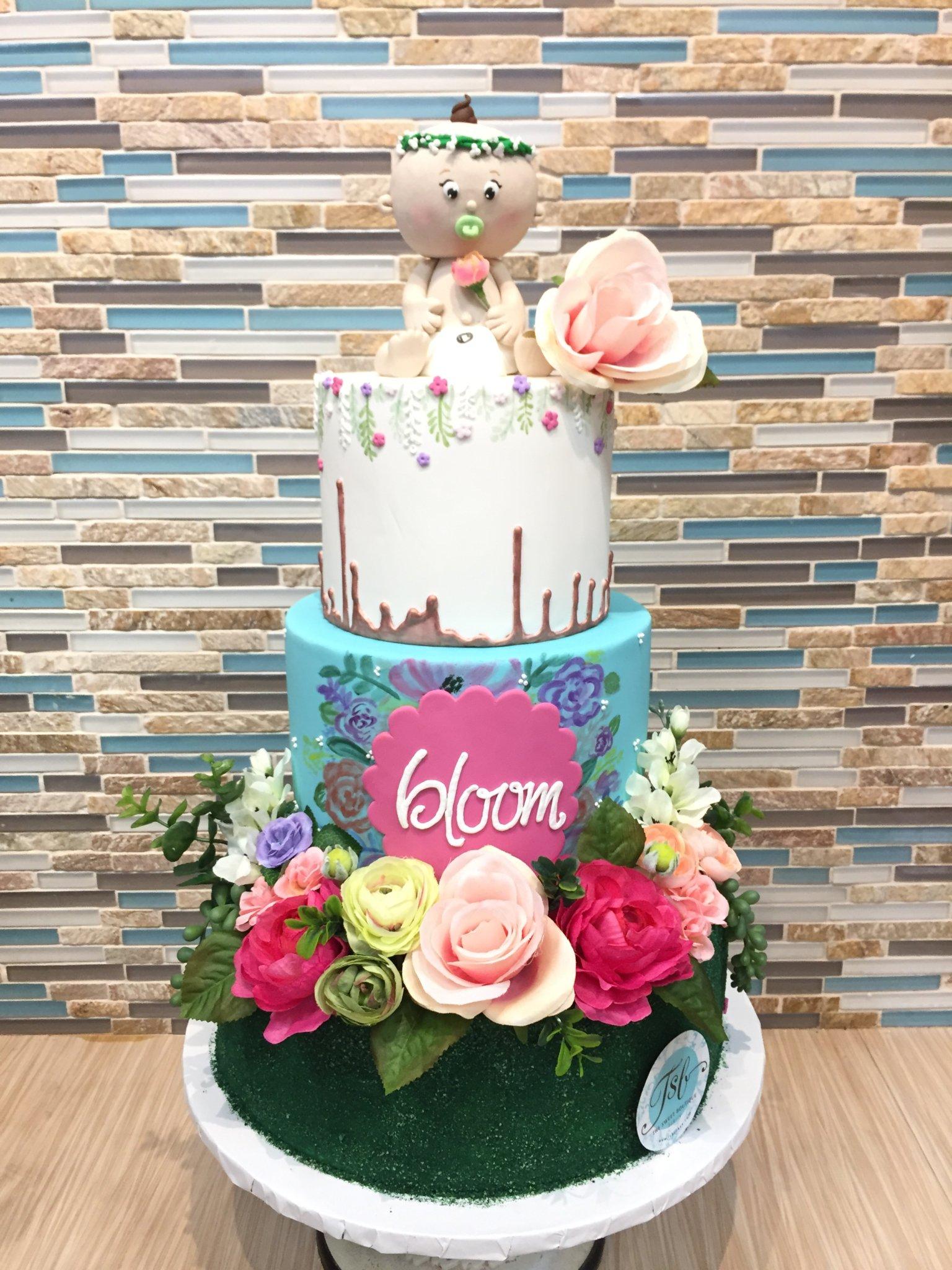 Spring Floral Baby Shower Cake