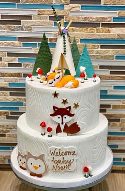 Woodlands/Tepee Baby Shower Cake
