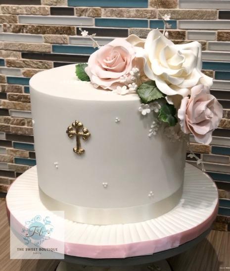 Floral Baptism Cake