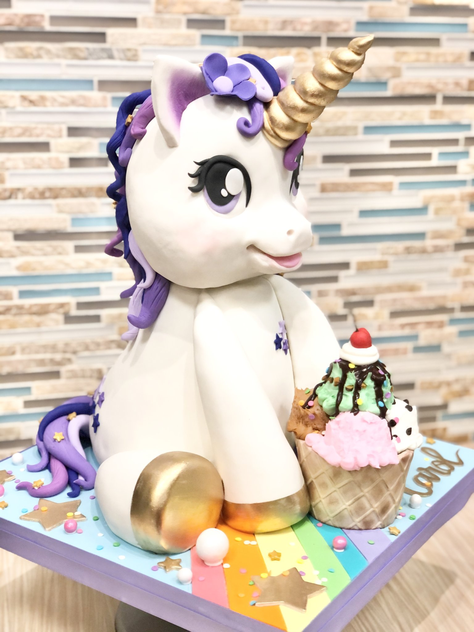 3D Sculpted Unicorn Cake