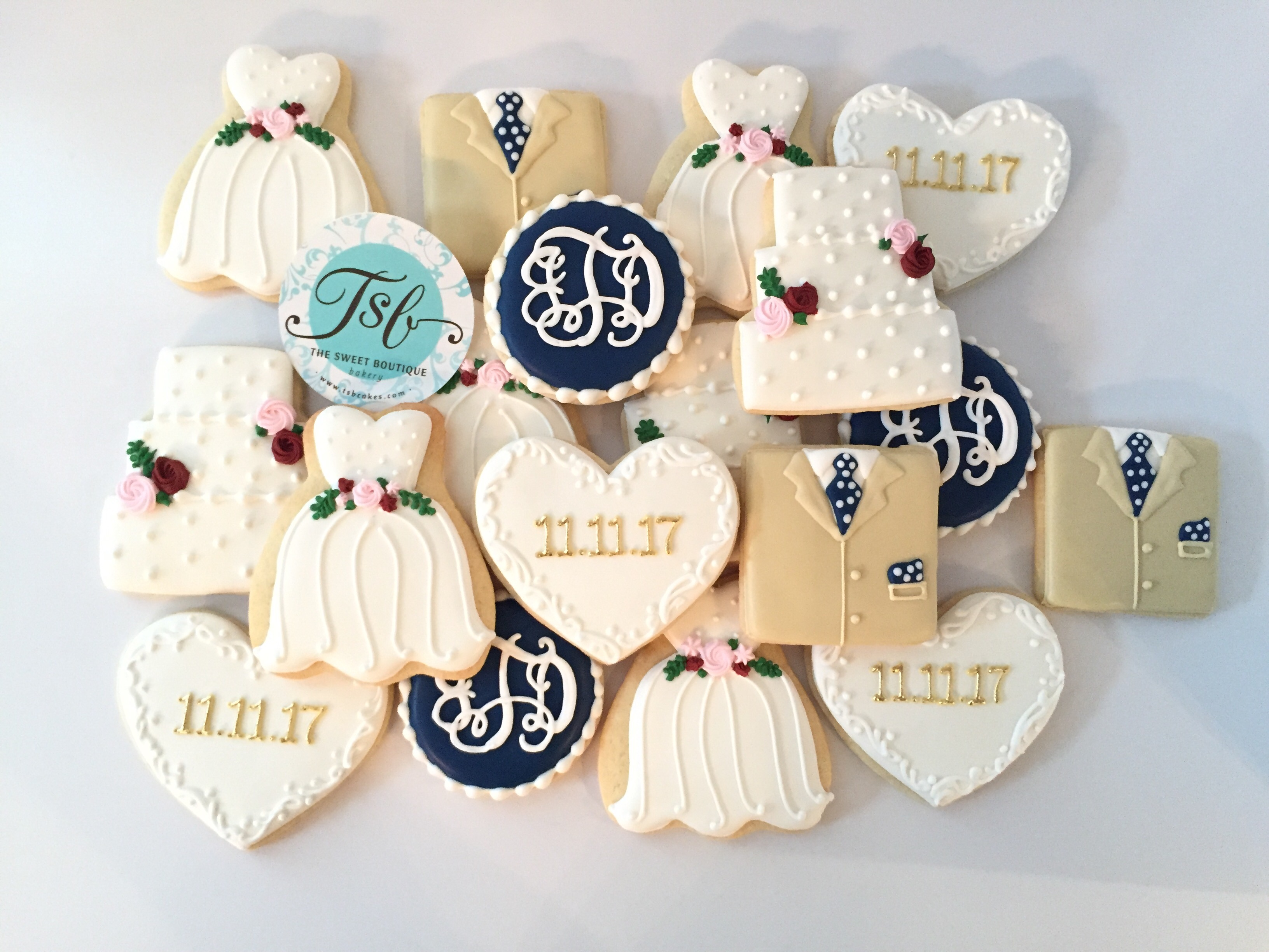 Wedding Dress & Tuxedo Cookies