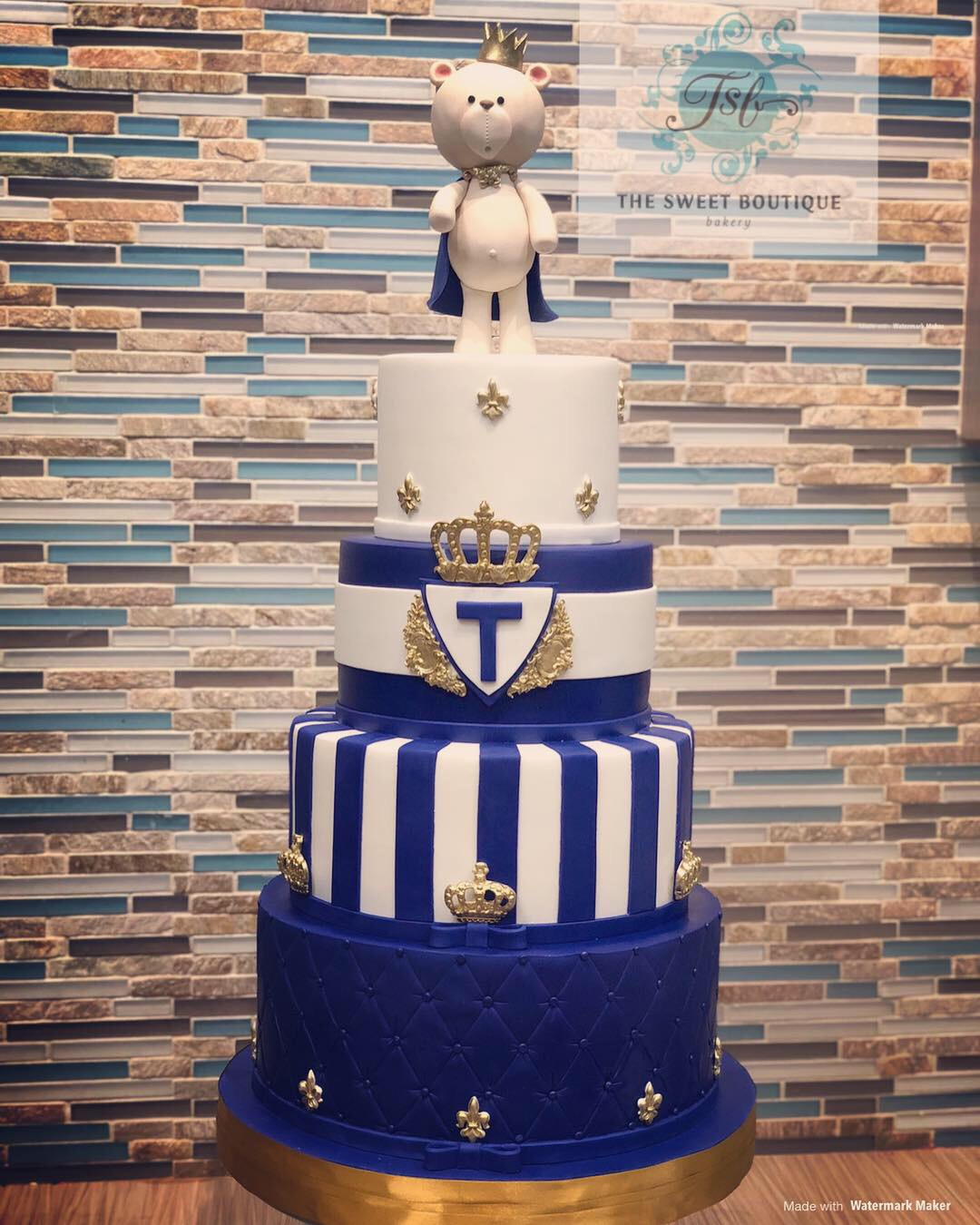 4-tier Boy Baby Shower Cake