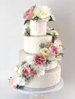 Bling Floral Wedding Cake