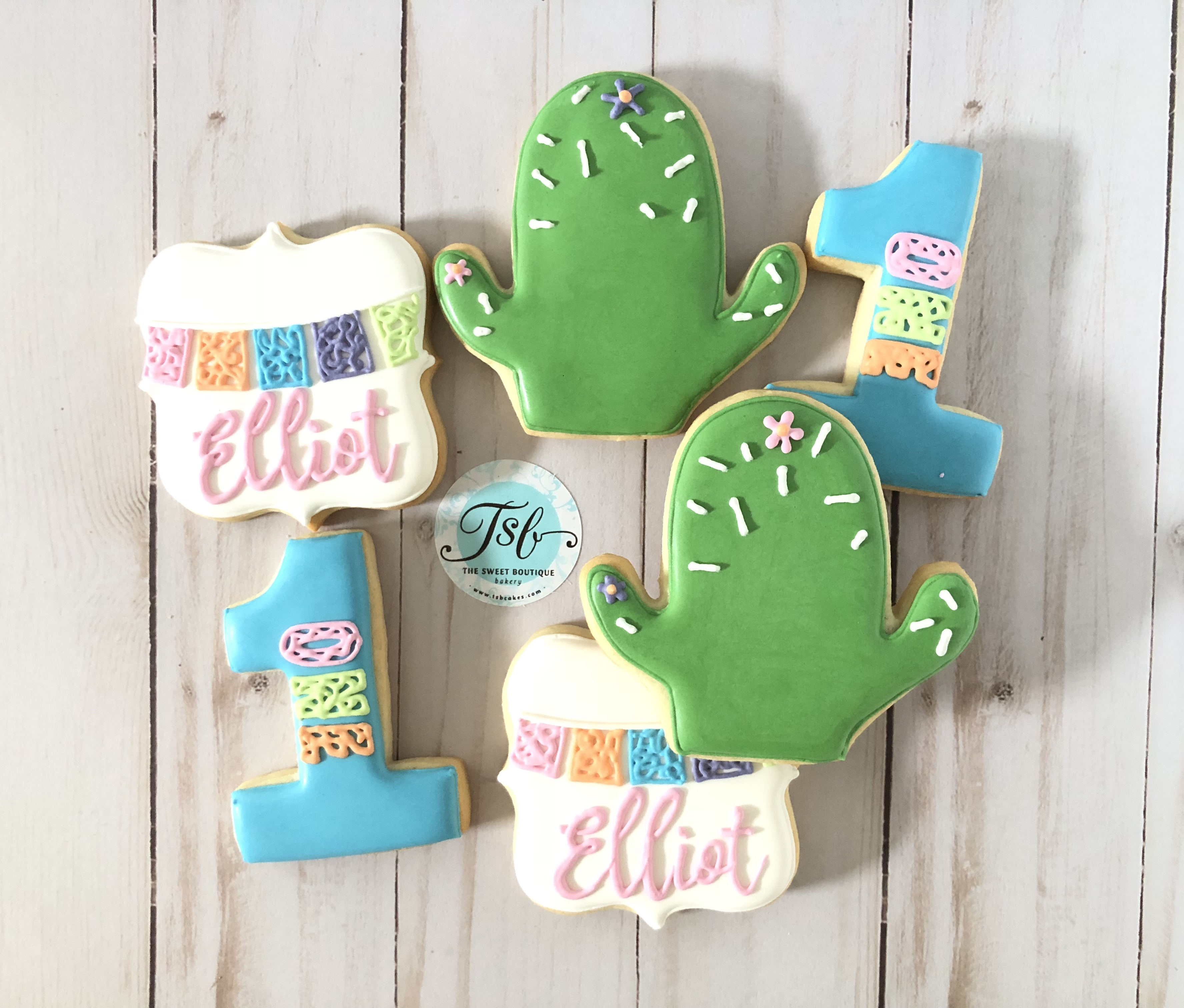 Cactus, first birthday cookies