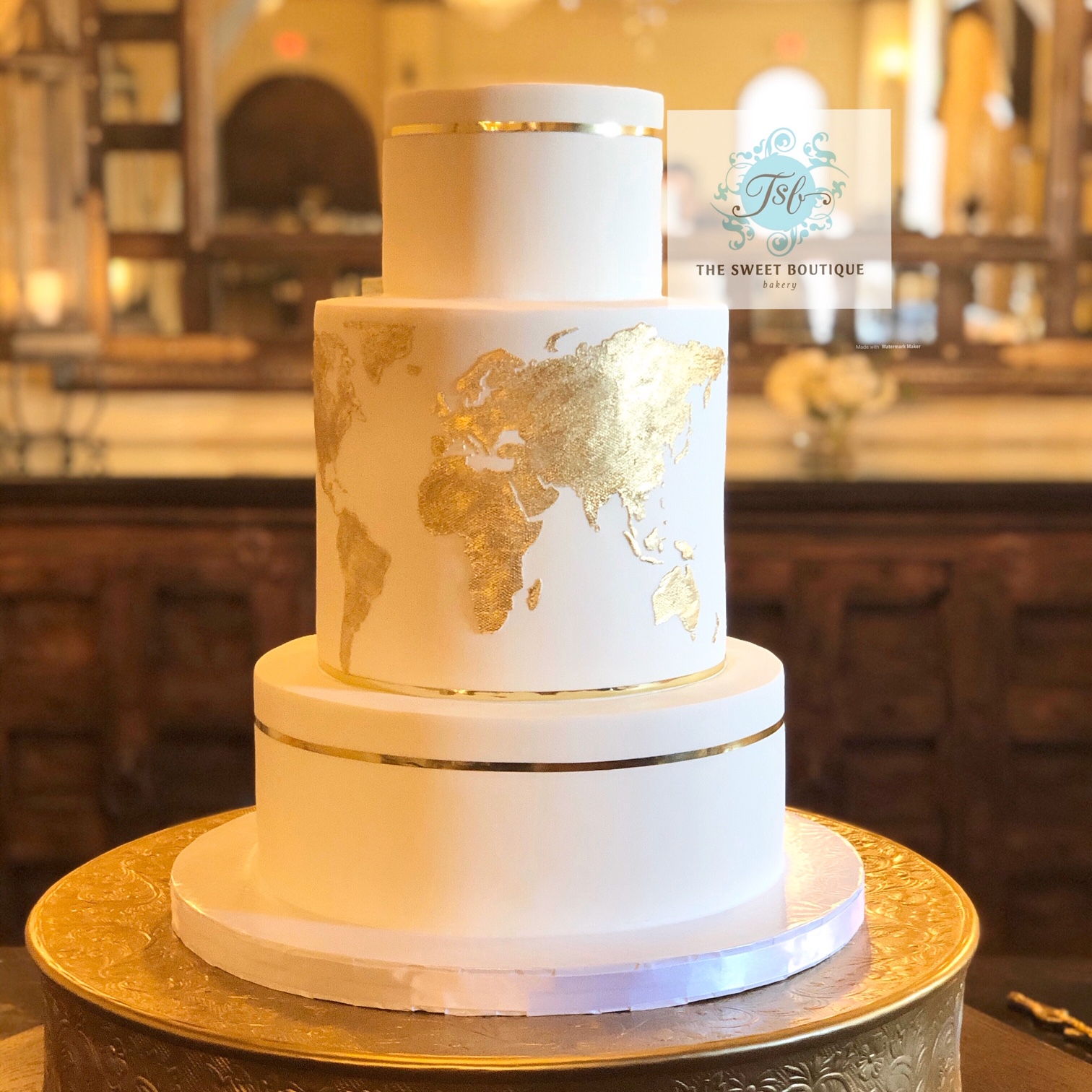 World Map Wedding Cake