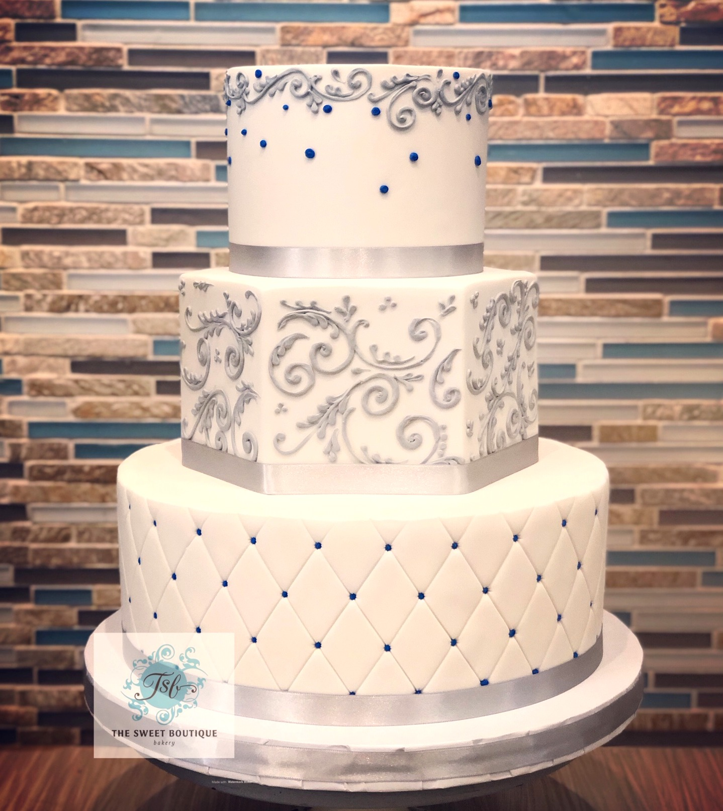 Scroll/Quilt Pattern Wedding Cake
