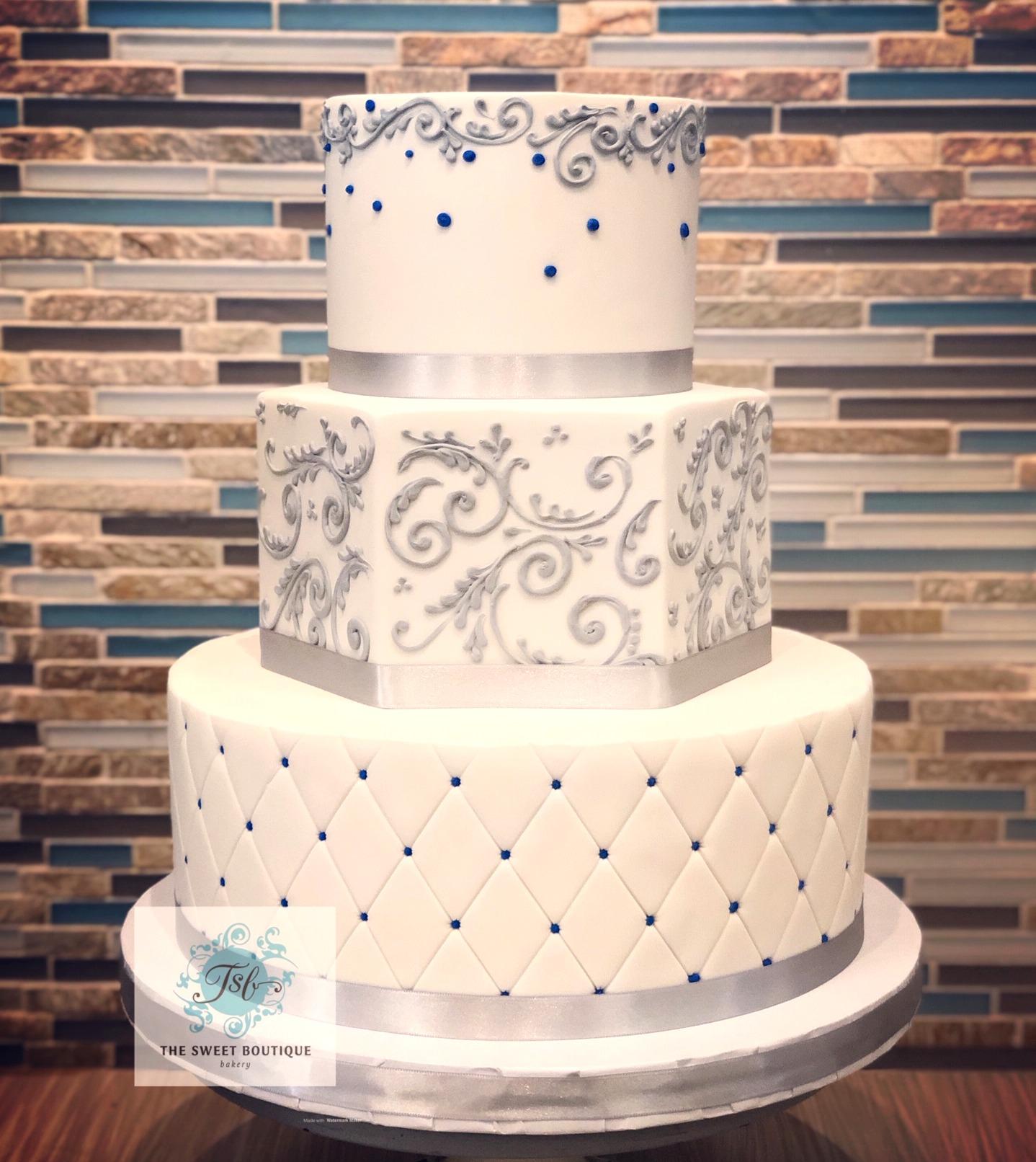 Scroll/Quilt Pattern Wedding Cake