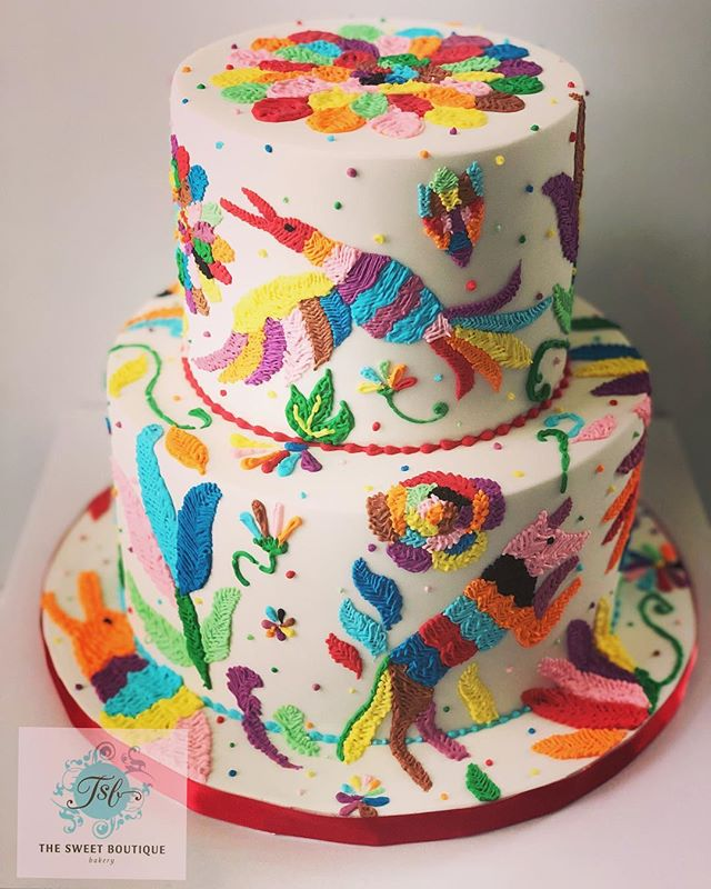 Otomi Embroidery Birthday Cake