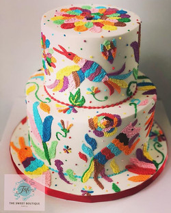 Otomi Embroidery Birthday Cake