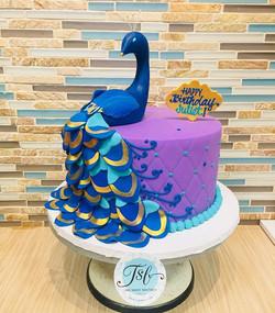 Peacock themed birthday cake. #birthdayc