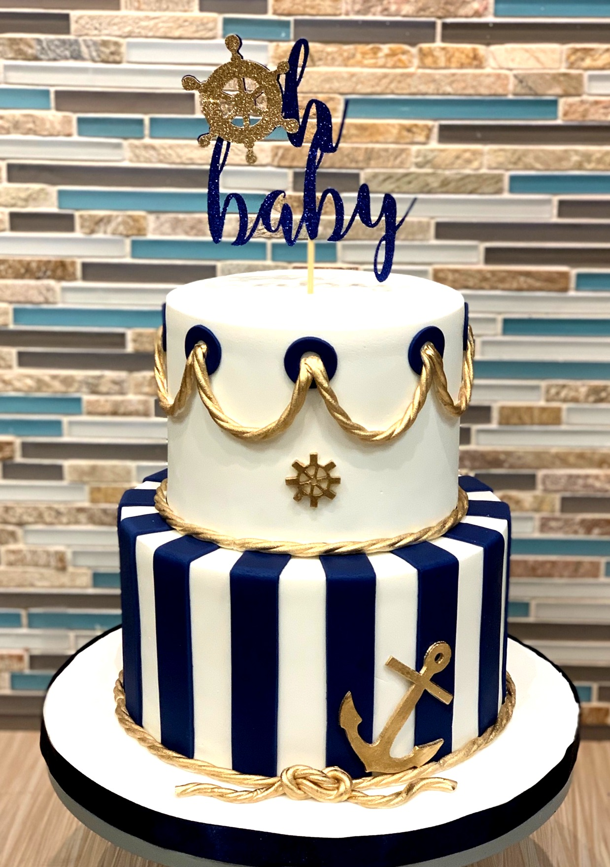 Nautical/Anchor Baby Shower Cake