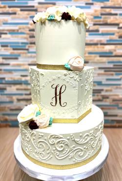 Buttercream Wedding Cake with Monogram