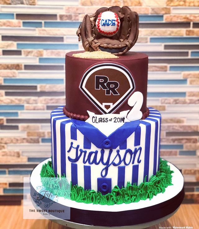 Baseball Themed Graduation Cake
