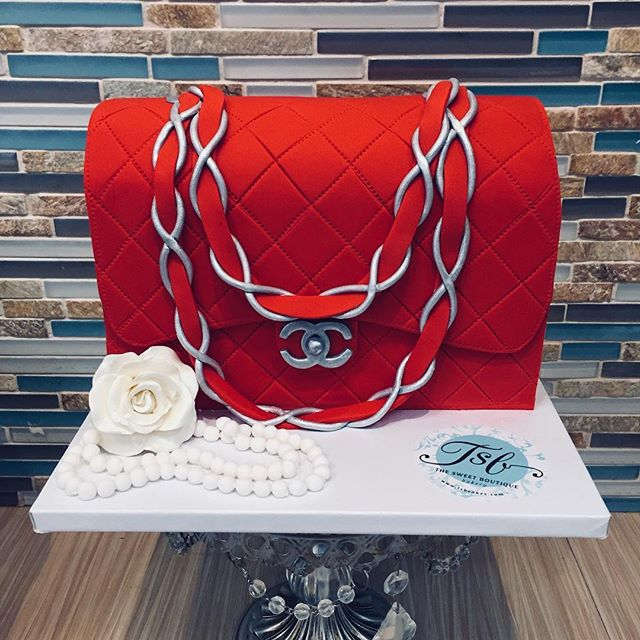3D Sculpted Red Designer Purse cake