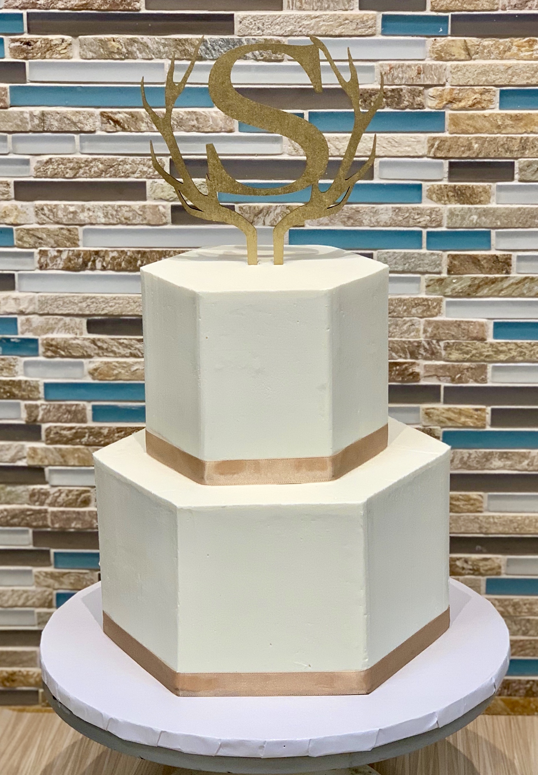 Hexagon Wedding Cake Design