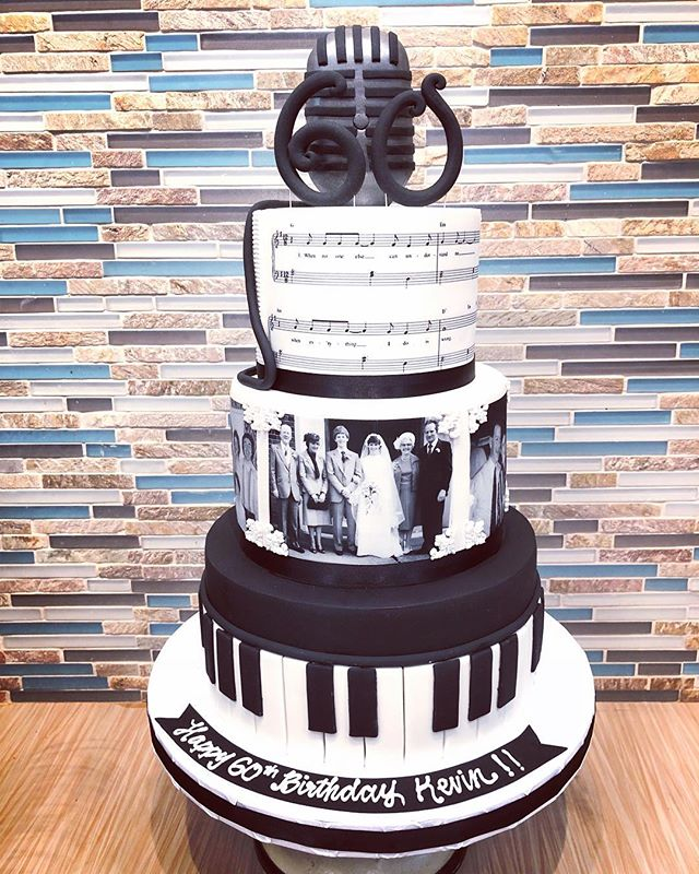 Black and white themed 60th birthday cak