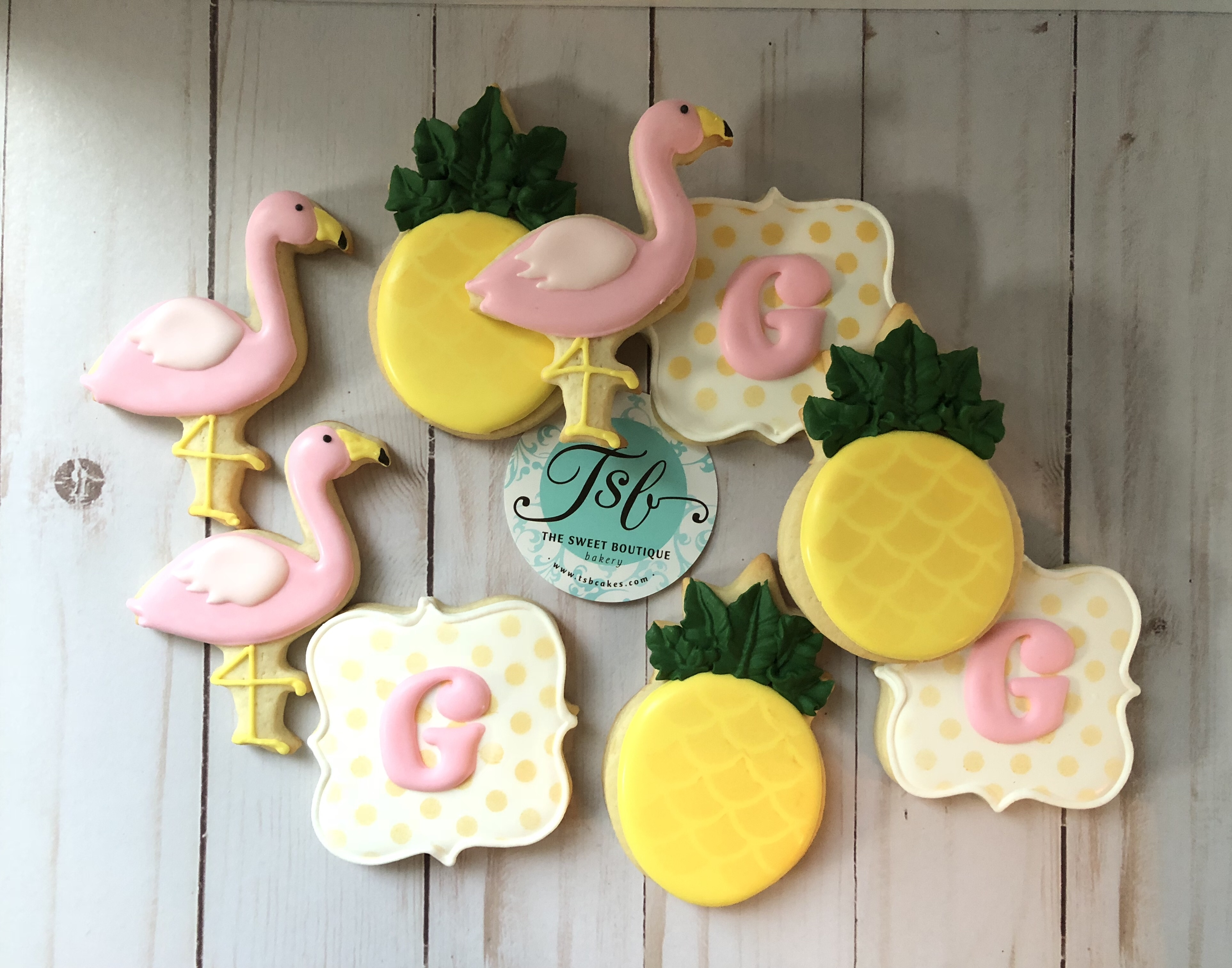 Tropical/Pineapple/Flamingo Cookies