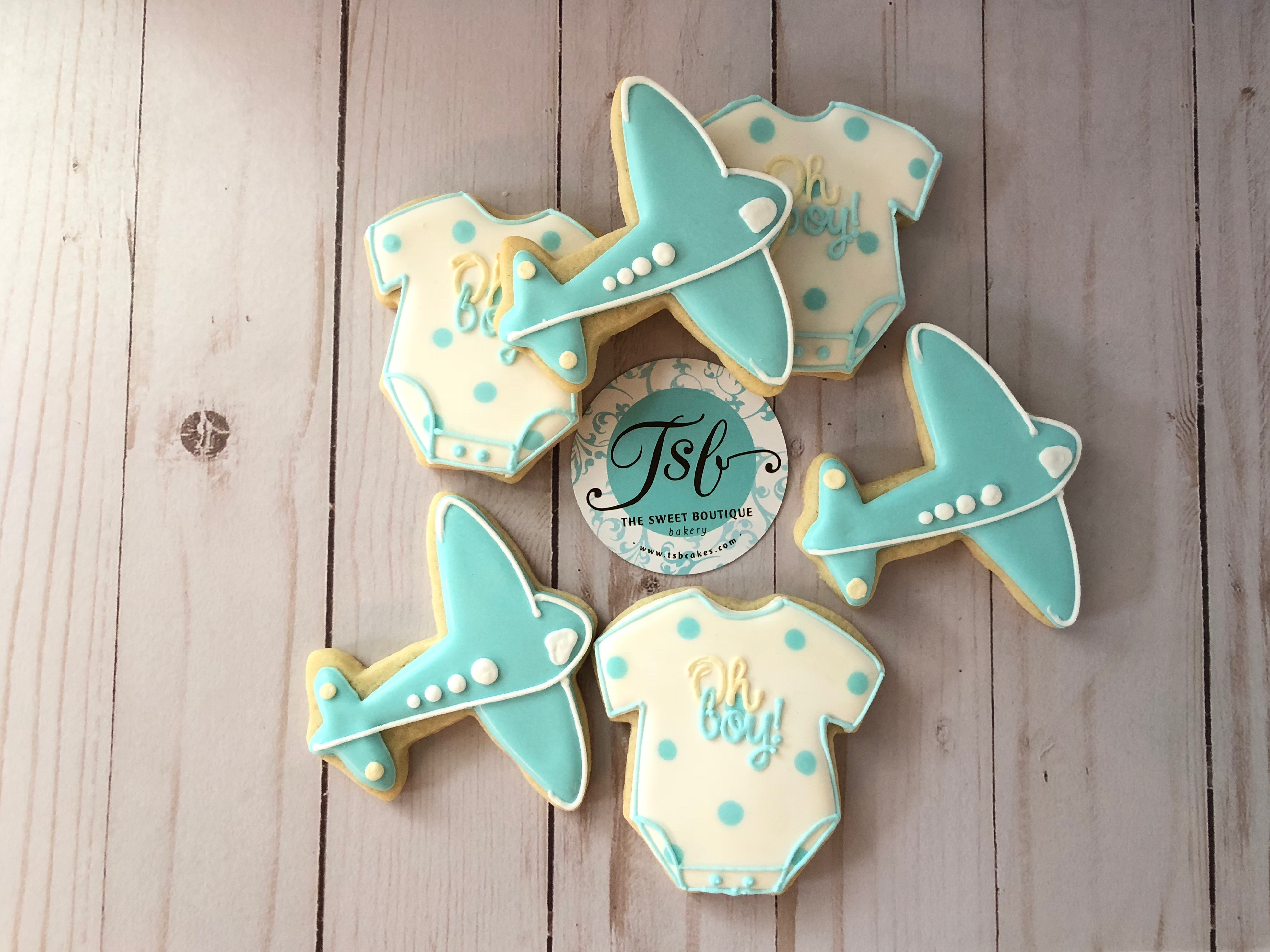 Airplane Baby Shower Cookies